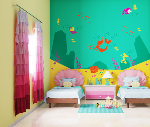 غرفة نوم اطفال لون حائط سريرين