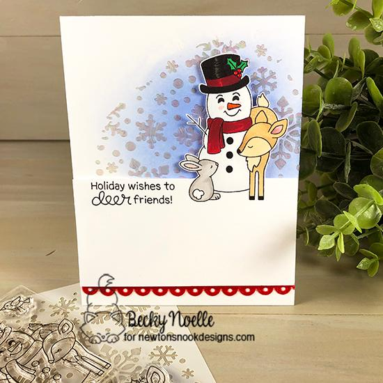 Holiday Wishes to Deer Friends by Becky features Festive Fawns and Snowfall by Newton's Nook Designs; #newtonsnook
