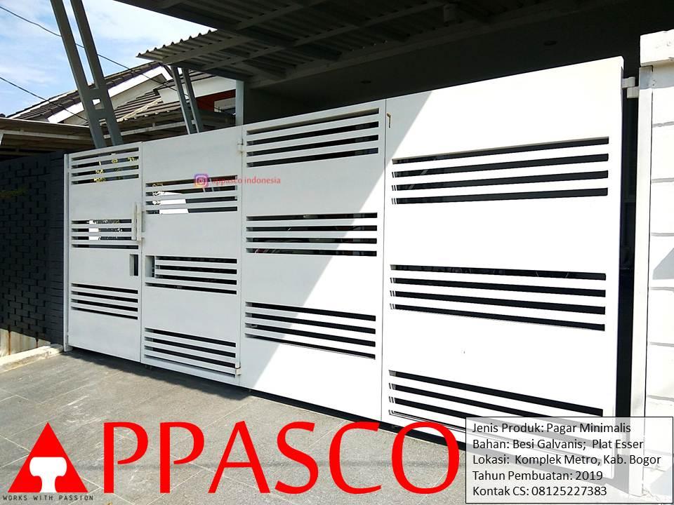 Pagar Minimalis Warna Putih Cantik Besi Galvanis Plat Esser di komplek Metro Bogor