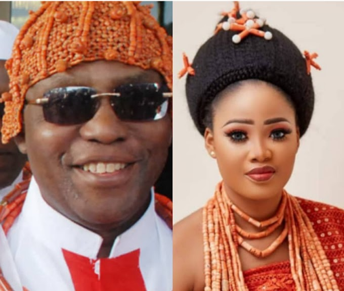 Oba Of Benin And One Of His Wives, Queen Owamagbe, Welcome New Princess