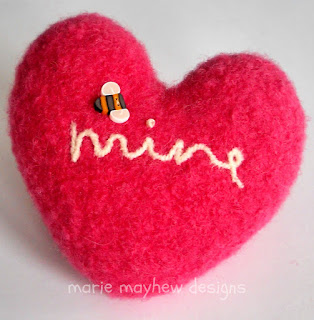 felted valentine hearts