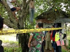 Mayat Pria Tanpa Identitas Ditemukan Menggantung di Pohon