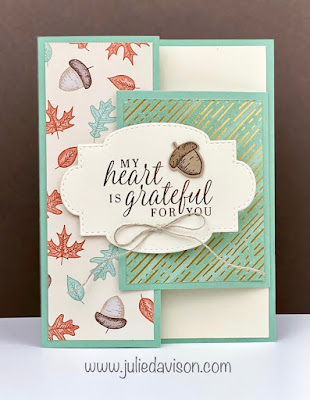 Stampin' Up! Beautiful Autumn Tuck Fold Card + VIDEO ~ August-December 2020 Mini Catalog ~ www.juliedavison.com