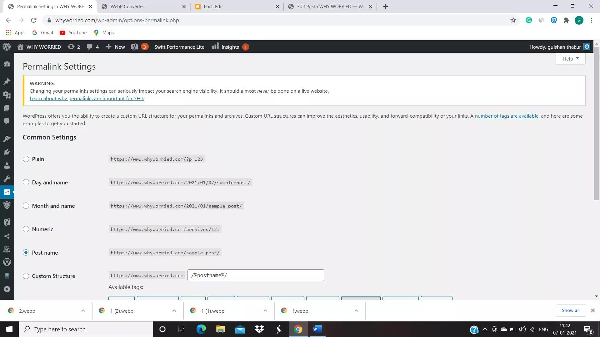 image of permalink settings in WordPress