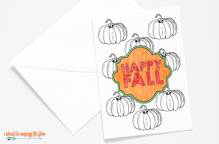Printable Fall Card to Color