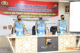 Wakapolda Jateng Tandatangani Pakta Integritas Penerimaan Siswa SIP Angkatan Ke-50 TA 2021