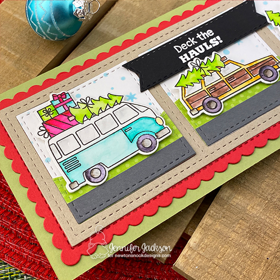 Deck the Halls with Inky Paws Blog Hop | Christmas card by Jennifer using Destination Christmas Stamp Set and Slimline Dies by Newton's Nook Designs