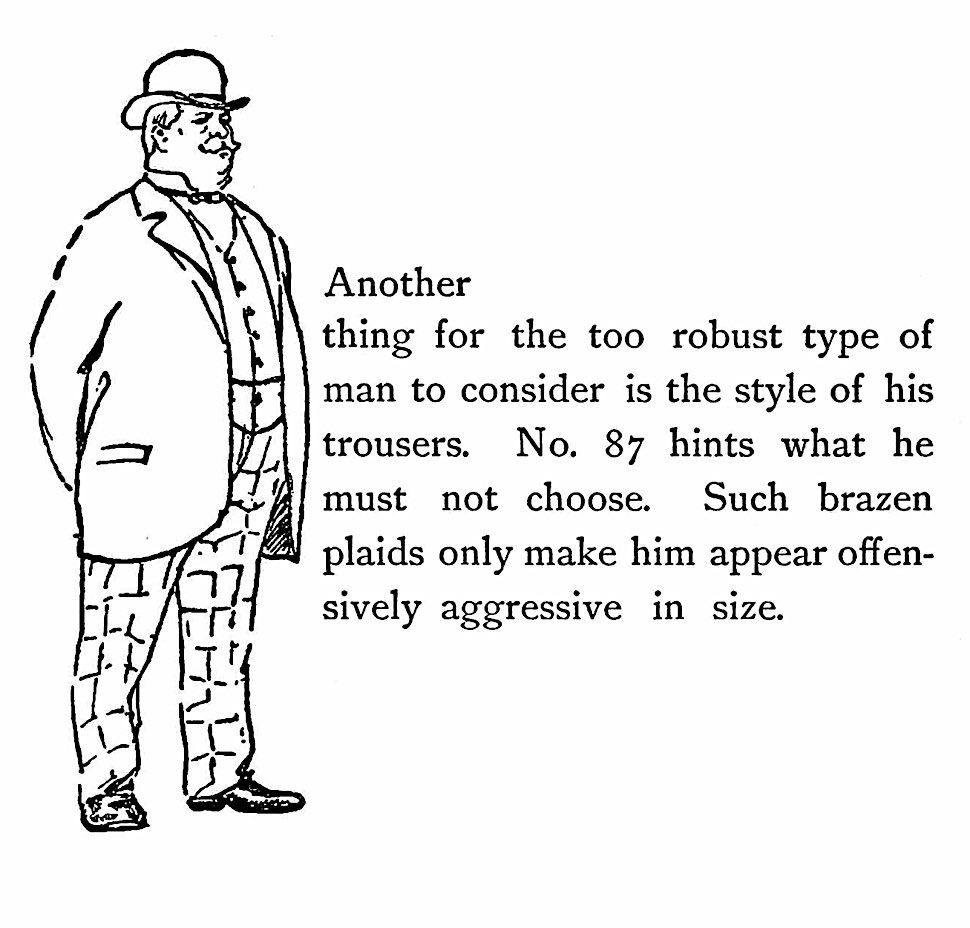 an 1897 fashion mistake illustration for big burly men in loud plaids