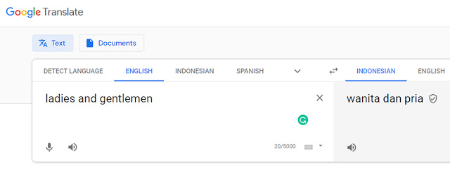 Arti Ladies and Gentlemen Google Translate