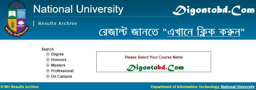 Degree Result 2018 National University - nu.ac.bd