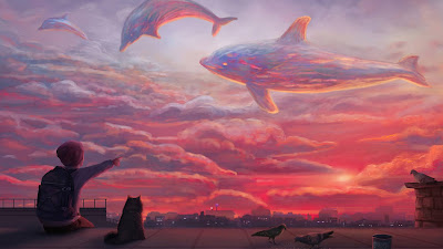 Wallpaper HD Dolphins Sunset Sky Pink Clouds