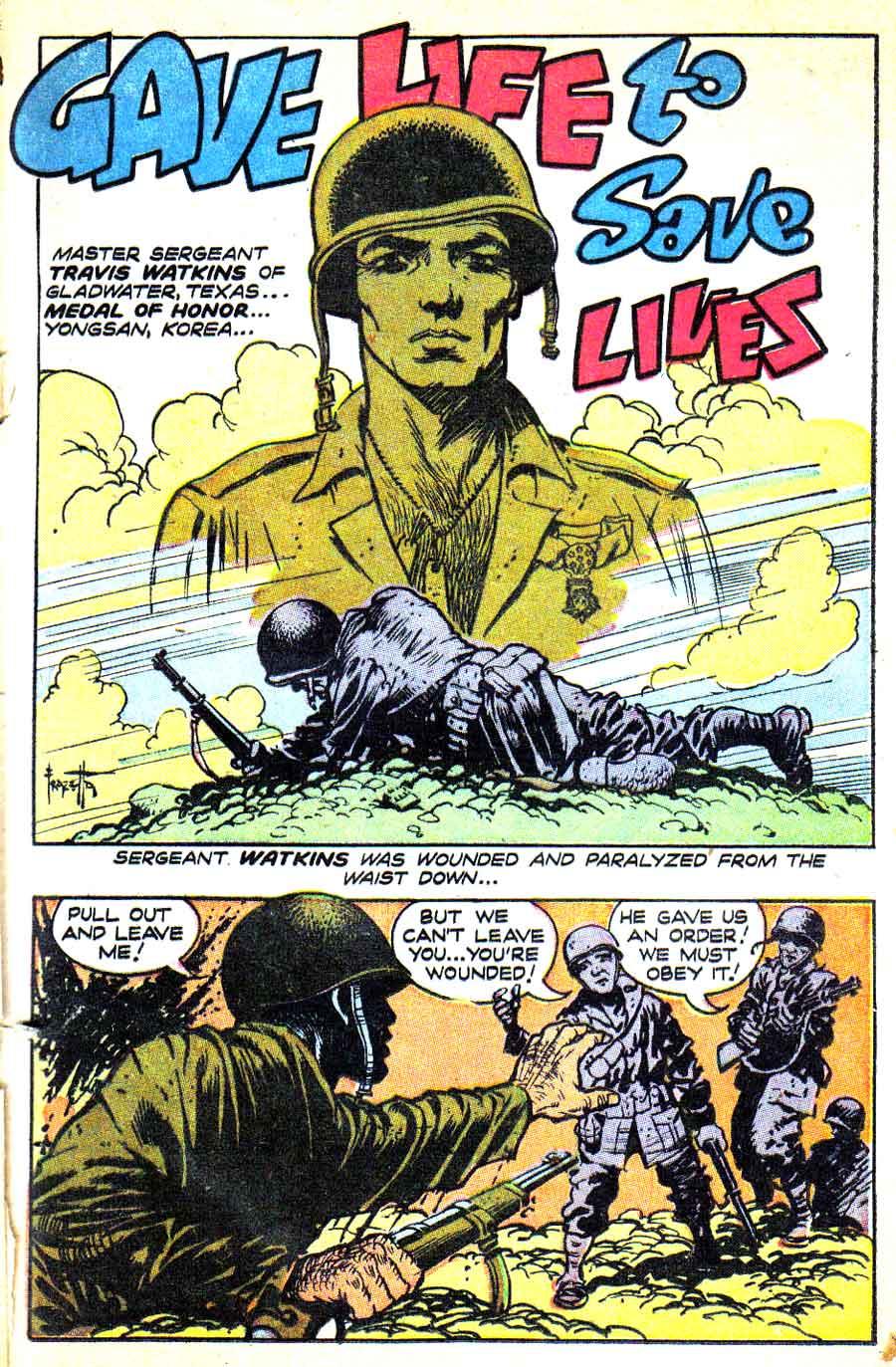 Heroic Comics #71 golden age 1950s war comic book page art by Frank Frazetta