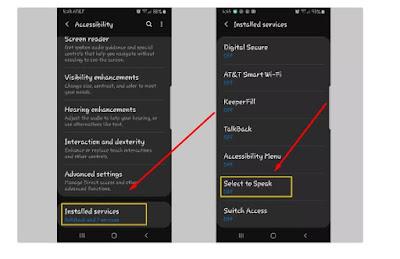 Tangkapan layar yang menunjukkan cara membuka opsi Select to Speak di Android.
