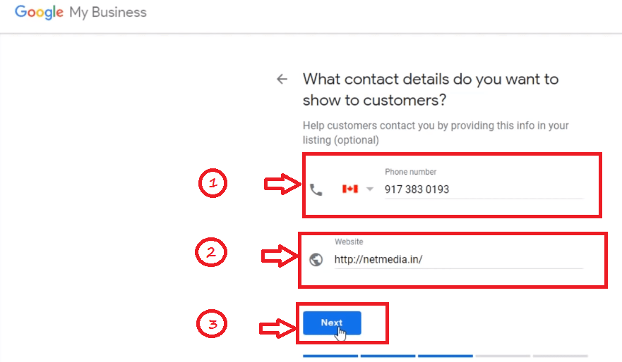 Enter Business Phone Number Details in Google My Business