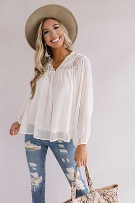 airy white top