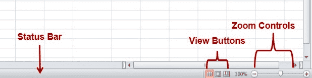Status Bar, View Controls & Zoom Controls
