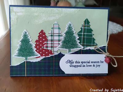Stampin' Up Wrapped in Plaied Christmas tree card with distressed background