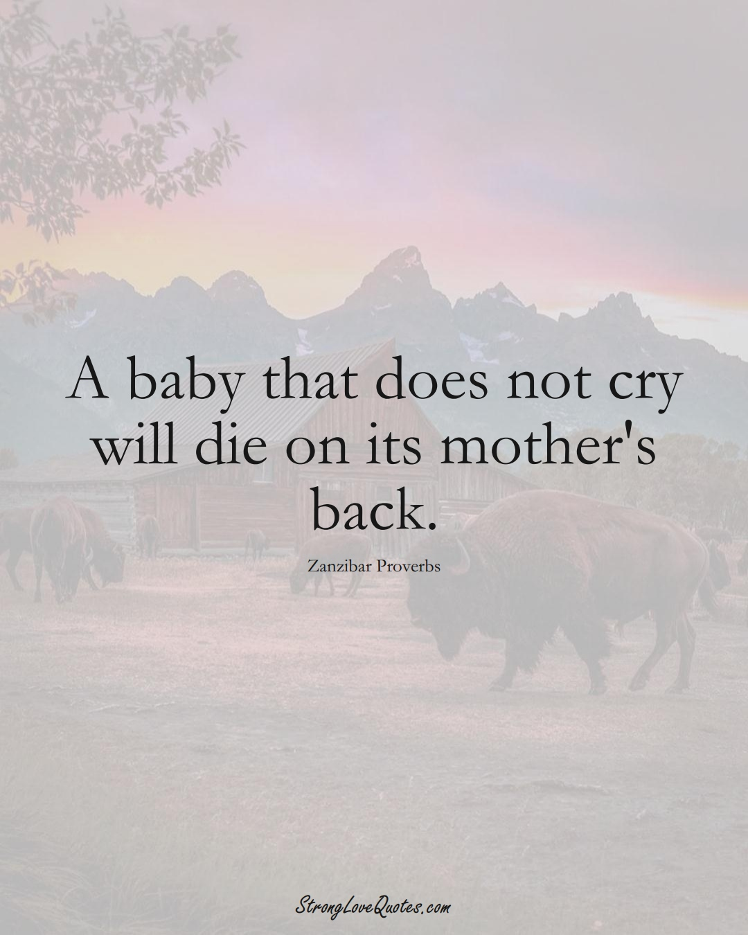 A baby that does not cry will die on its mother's back. (Zanzibar Sayings);  #AfricanSayings