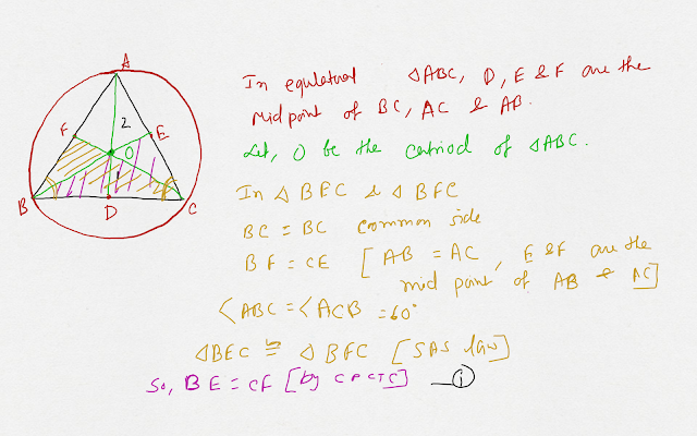 In an equilateral triangle, prove that the cenriod and the circumcentre of triangle coincide Ankit Sarawgi class 9 Circle