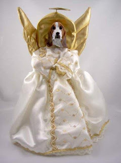 An Christmas tree topper of an angel with gold wings and halo wearing a white dress. But the head is a Basset Hound head.
