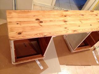 pine dressing table sanded