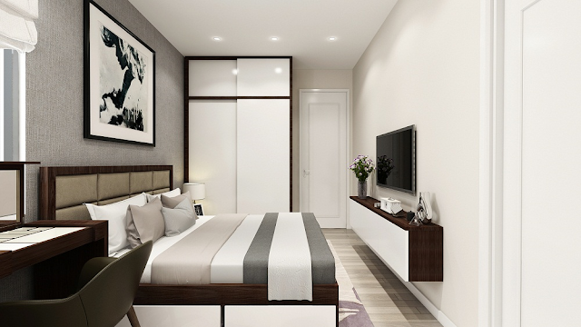 Phòng ngủ căn 61m2 chung cư Riverside Garden