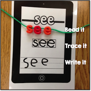 sight word letter bead.  Practice high-frequency words with hands on manipulatives