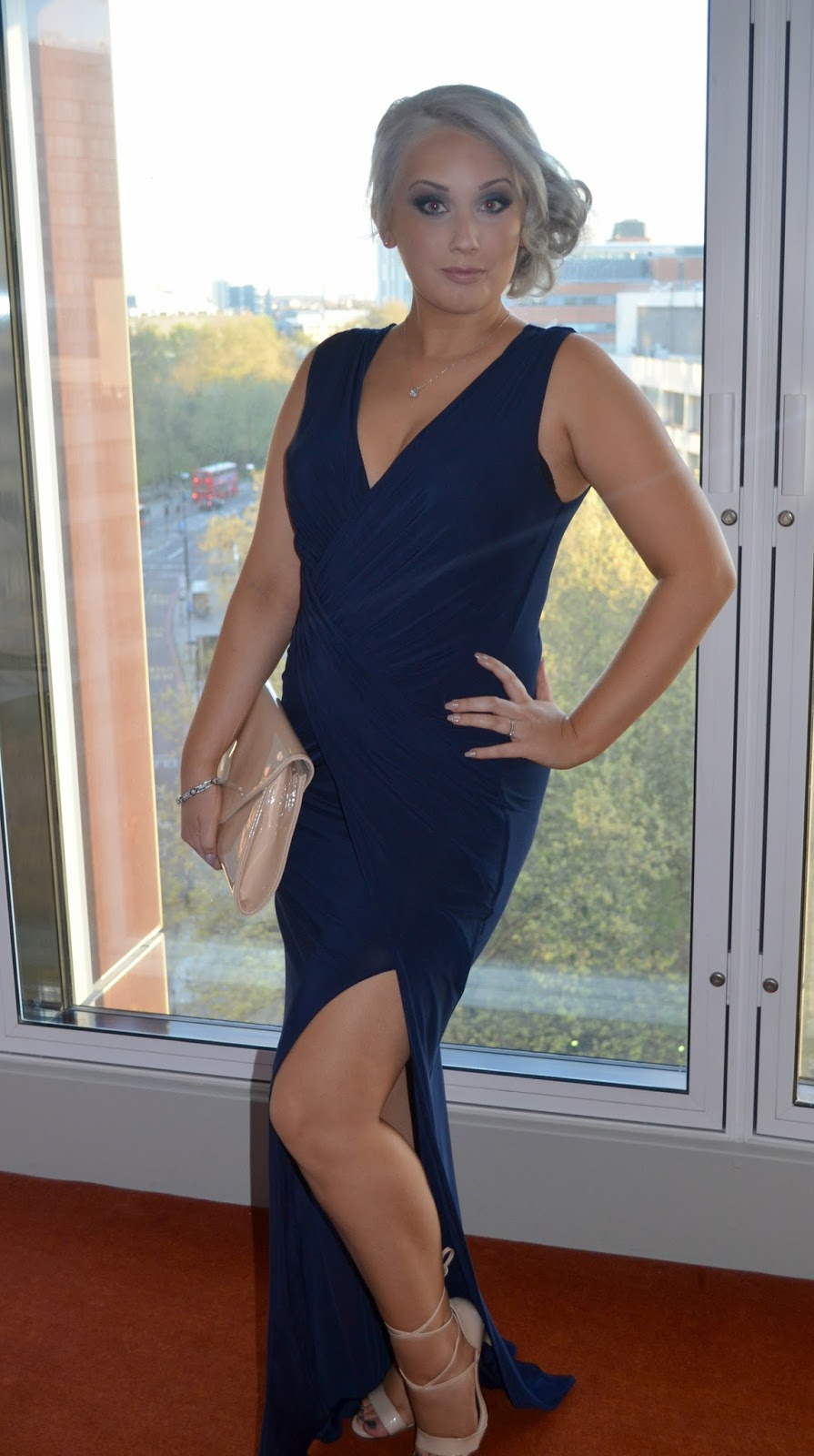 UK Blog Awards - Formal - Outfit - OOTD - Outfit of the day - floor length dress - styling - nude - navy dress -  shoes - heeled sandals - clutch bag - budget - cheap - jewellery - stud earrings - diamonte earrings