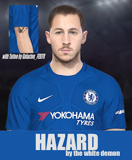PES 2018 Face & Tattoo Eden Hazard by Jarray & The White Demon Facemakers