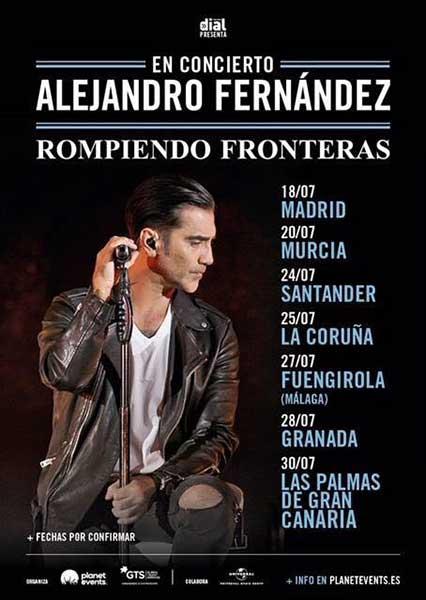 """Las Palmas de Gran Canaria acogerá un concierto de Alejandro Fernández dentro de su gira por España de """"Rompiendo Fronteras"""""""