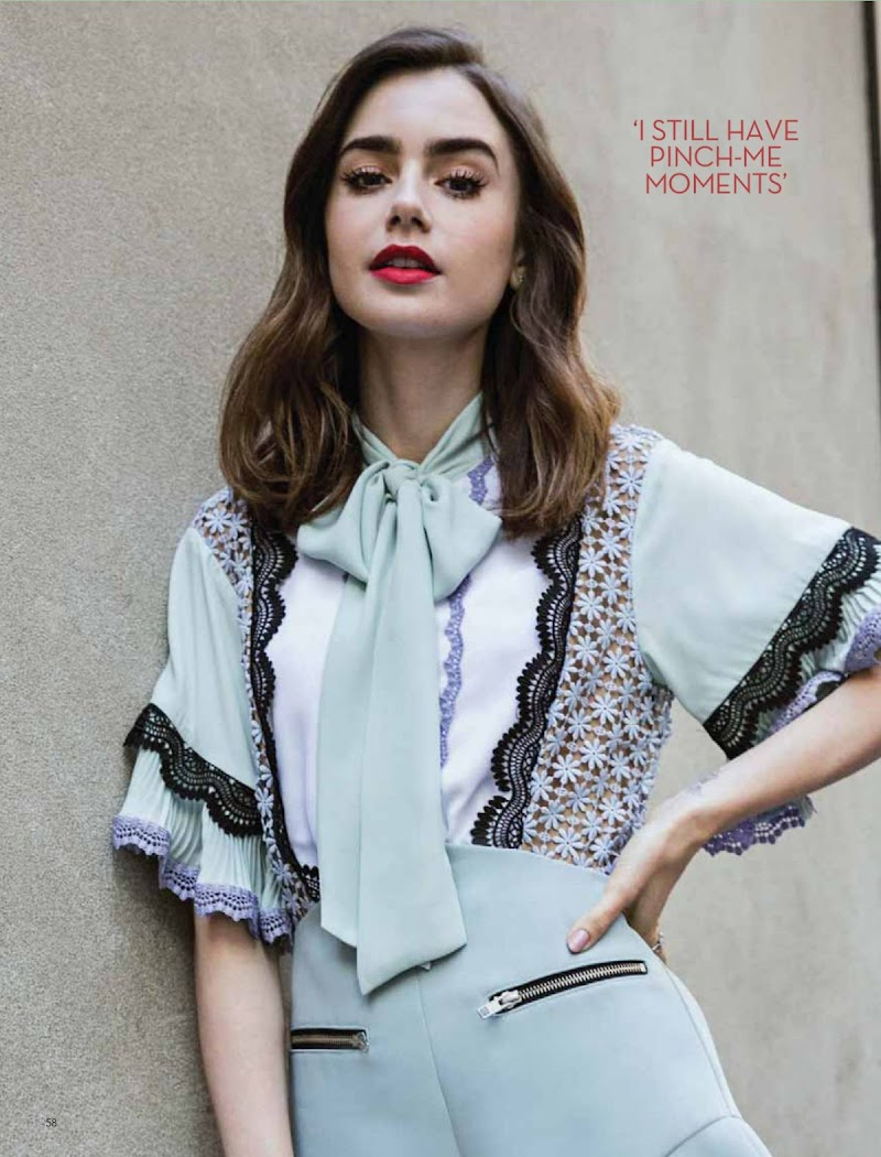 Lily Collins Featured in OK Magazine -UK October 2020
