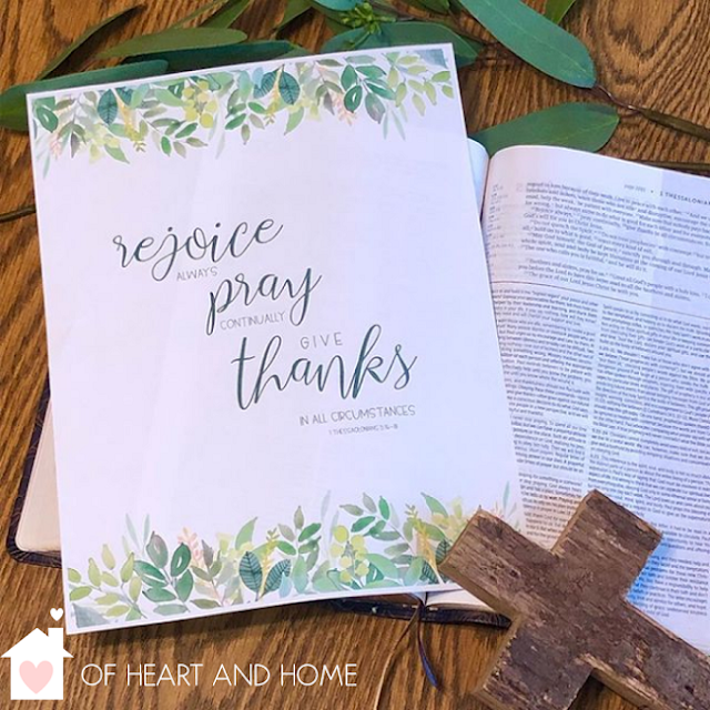 Free Printable Bible Verse Art 1 Thessalonians 5: 16-18