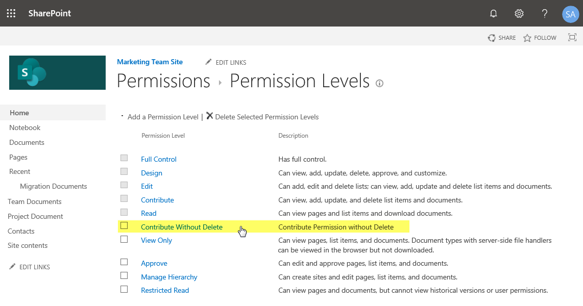 sharepoint online edit permission level