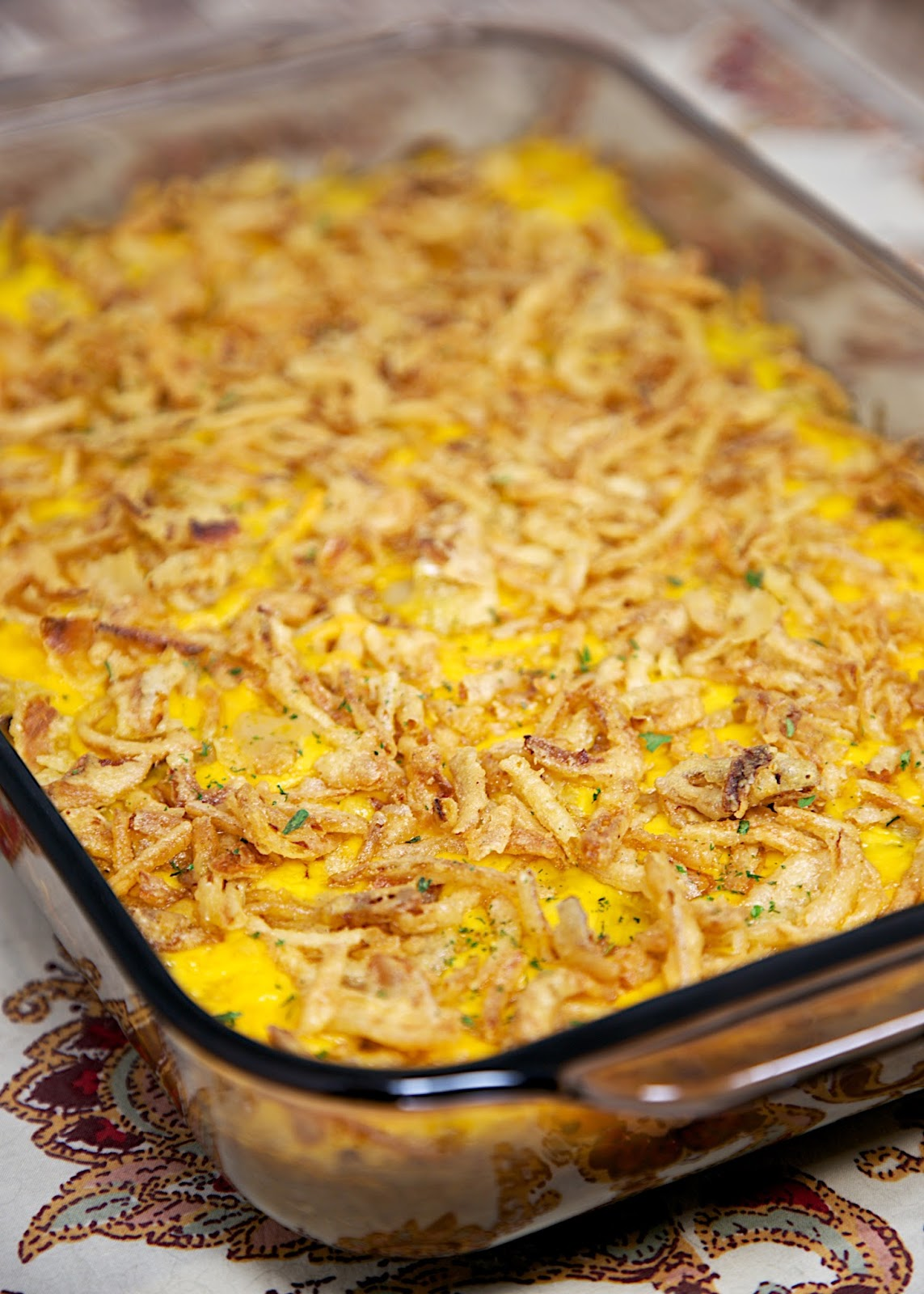 Beefy Rice-A-Roni Casserole Recipe - quick casserole with only 5 ingredients! Hamburger, Rice-A-Roni, chicken soup, cheese and fried onions. Can make ahead and freeze for later!