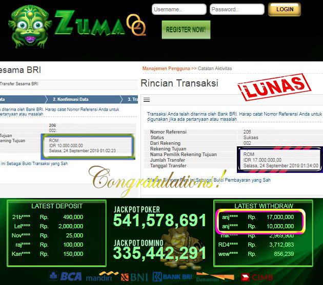 Selamat Kepada Pemenang Member Setia ZumaQQ Periode 24 September 2019
