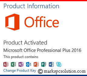 MS Office 2016 Product Activation Status