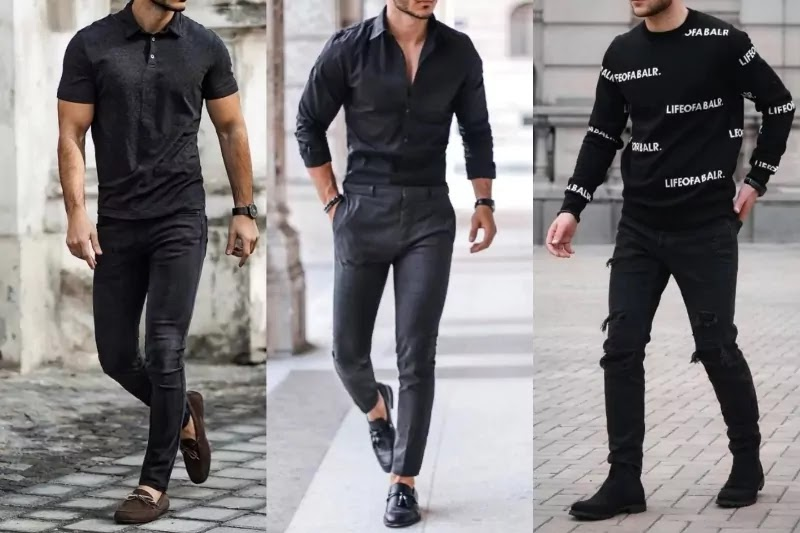 Men wearing all black outfits.