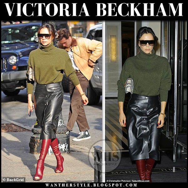 Victoria Beckham in green sweater, leather skirt and red boots winter street style january 25