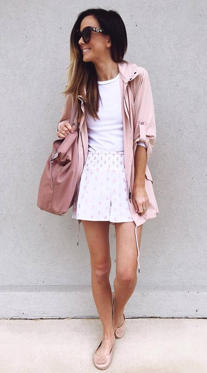 casual style addict / pink jacket + bag + white top + high waist shorts + flats
