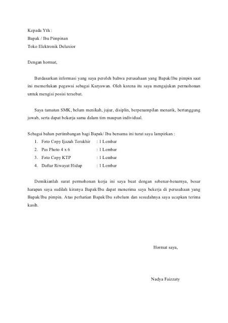 Contoh Surat Lamaran Kerja di Toko (via: made-blog.com)