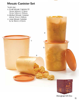 mosaic canister gold tupperware