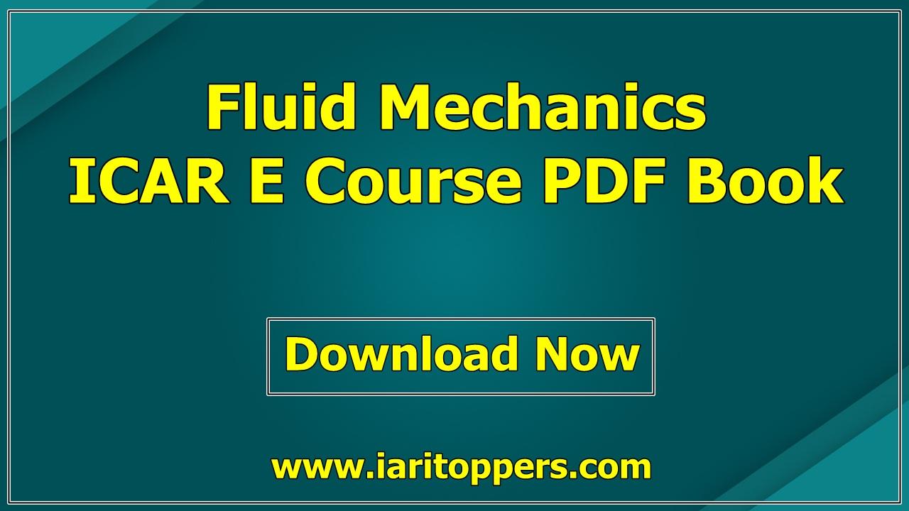 Fluid Mechanics ICAR ECourse PDF Book Download