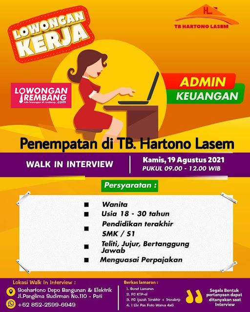 Lowongan Kerja Admin Keuangan  Toko Bangunan Hartono Lasem Rembang
