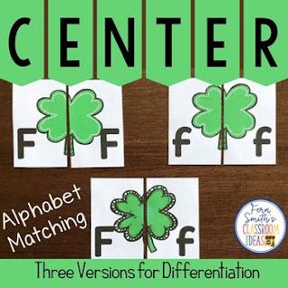 Alphabet Matching Literacy Center Easy Prep Uppercase & Lowercase Shamrocks
