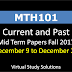 MTH101 Current and Past Mid Term Papers Fall 2017