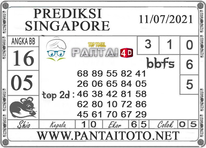 PREDIKSI TOGEL SINGAPORE PANTAI4D 11 JULI 2021