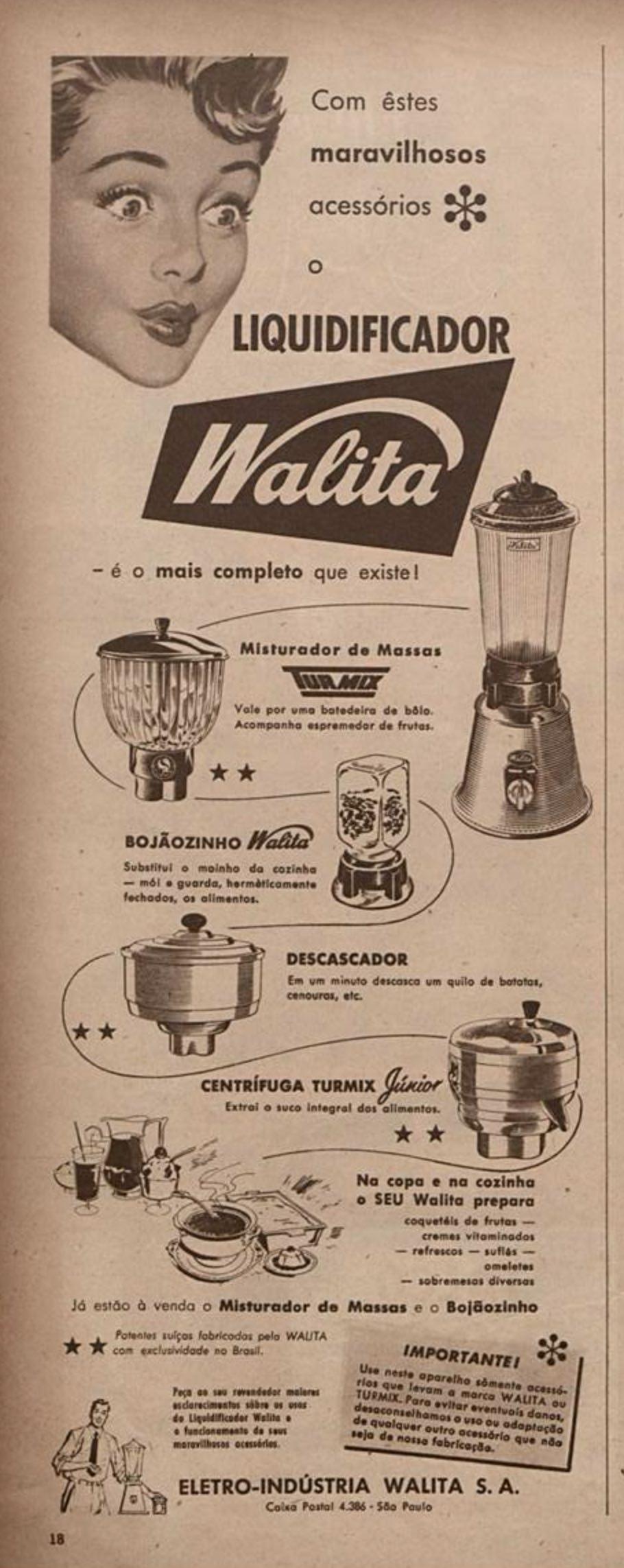 Anúncio da Walita veiculado em 1954 promovendo sua linha de liquidificadores e acessórios