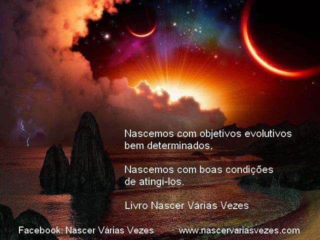Reencarnação. Nascemos com objetivos evolutivos bem determinados e boas condições para atingi-los.