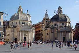 Rome's 'twin churches' - Santa Maria in Montesanto (left) and Santa Maria dei Miracoli