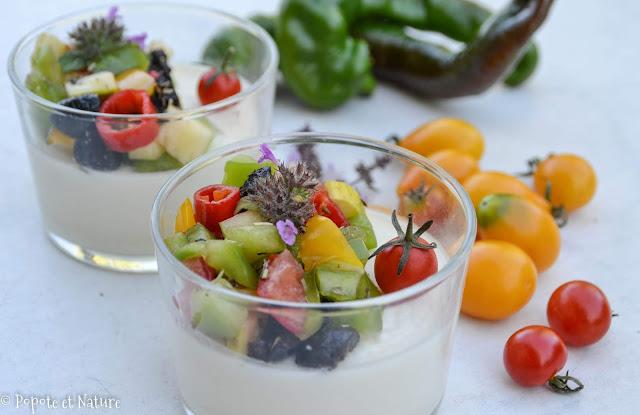 Panna cotta salée façon salade grecque © Popote et Nature